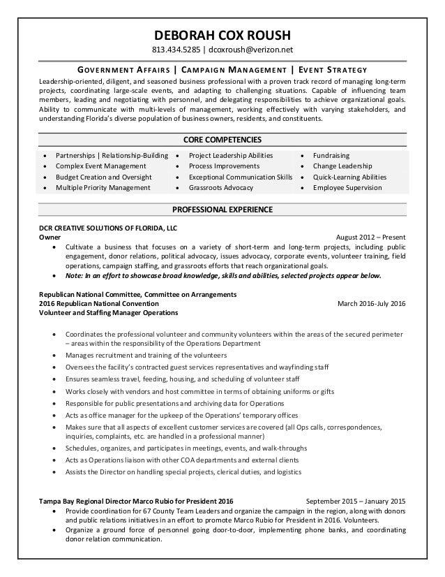 Deborah cox roush resume