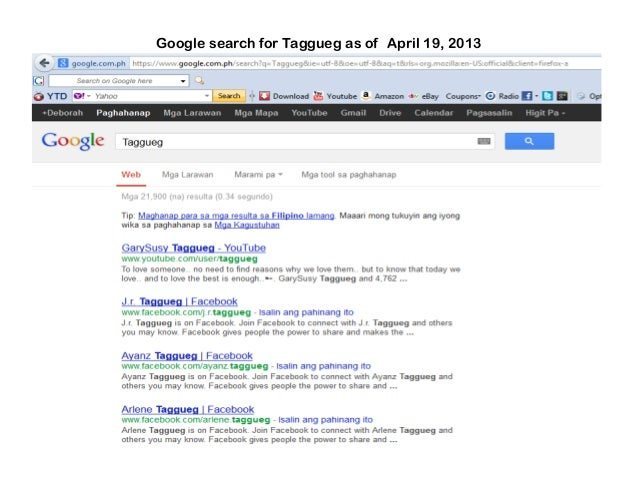 Google search for Taggueg as of April 19, 2013