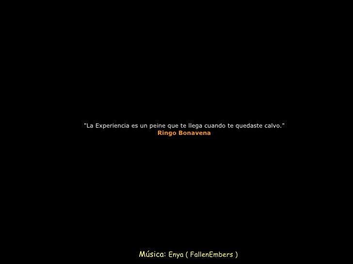 """""""La Experiencia es un peine que te llega cuando te quedaste calvo."""" Ringo Bonavena Música:  Enya ( FallenEmbers )"""