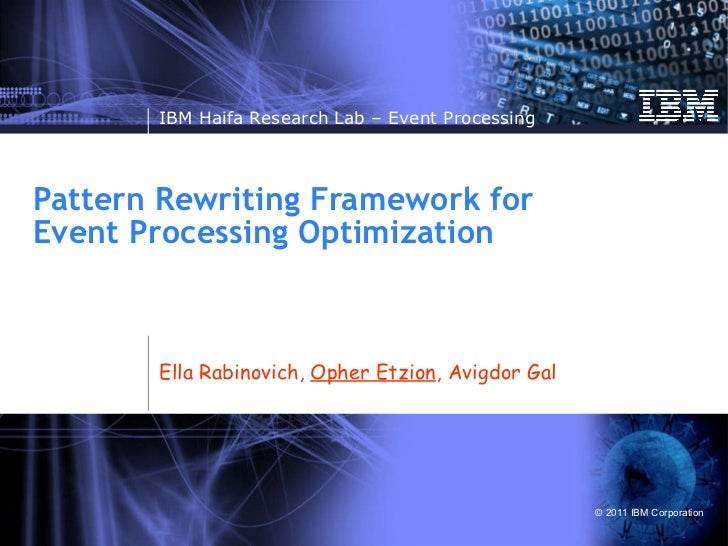 Pattern Rewriting Framework for Event Processing Optimization Ella Rabinovich,  Opher Etzion , Avigdor Gal