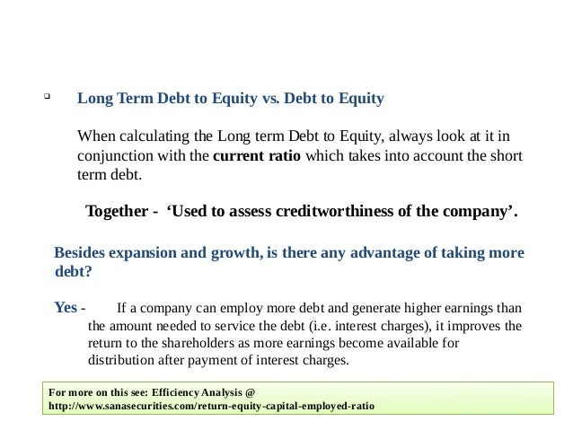 what does debt to equity ratio mean