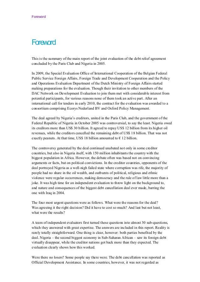 Debt relief agreement