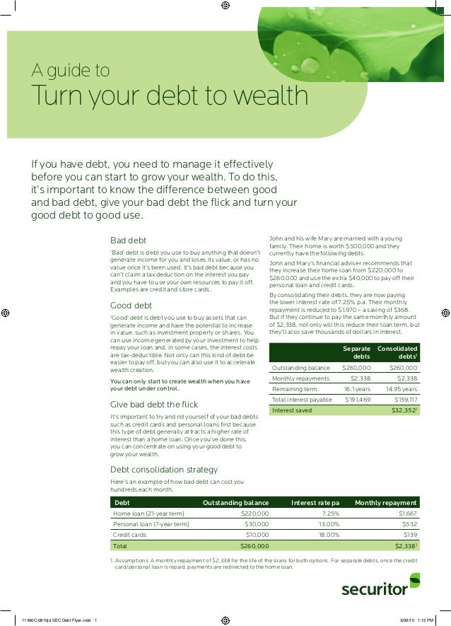 Bad debt 'Bad' debt is debt you use to buy anything that doesn't generate income for you and loses its value, or has no va...