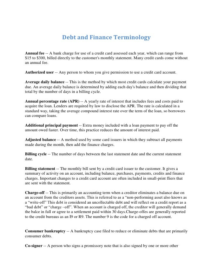 Debt And Finance Terminology