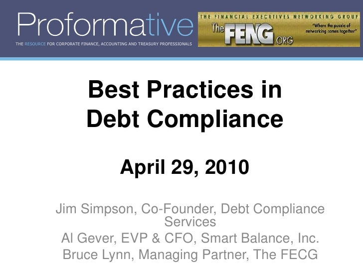 THE RESOURCE FOR CORPORATE FINANCE, ACCOUNTING AND TREASURY PROFESSIONALS                                  Best Practices ...