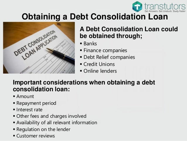 Loan debt consolidating finance