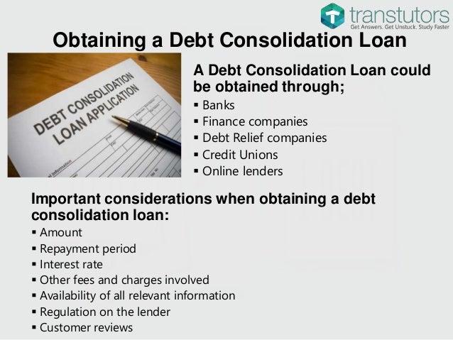 Loan debt consolidating finance