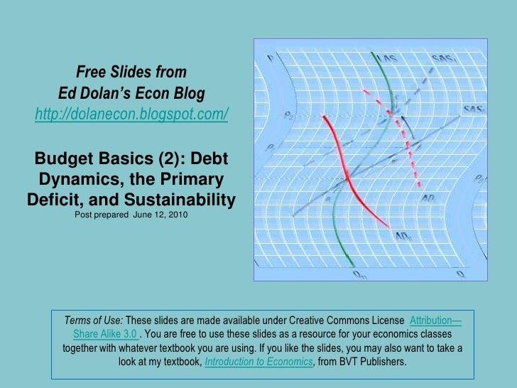 Free Slides fromEd Dolan's Econ Bloghttp://dolanecon.blogspot.com/Budget Basics (2): Debt Dynamics, the Primary Deficit, a...