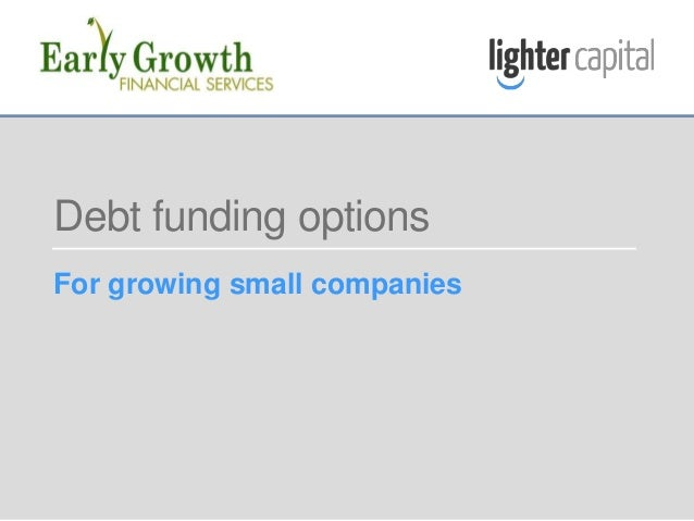 LIGHTER CAPITAL & EARLY GROWTH FINANCIAL SERVICES WEBINAR © COPYRIGHT 2015 Debt funding options For growing small companies