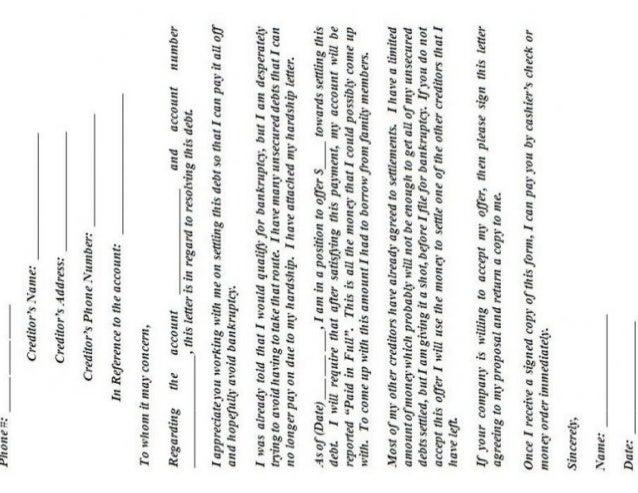 debt negotiation letter template - debt settlement letter template
