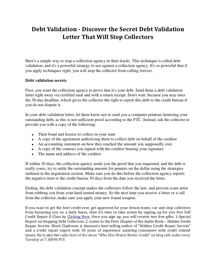 Debt Collection Agency >> Debt validation discover the secret debt validation letter ...
