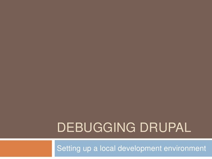 Debugging Drupal<br />Setting up a local development environment<br />