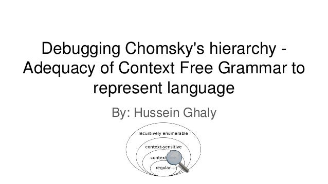 Debugging Chomsky's hierarchy - Adequacy of Context Free Grammar to represent language By: Hussein Ghaly