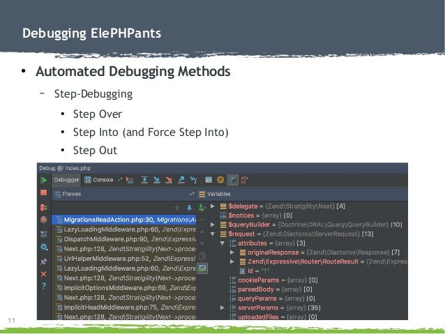 11 Debugging ElePHPants ● Automated Debugging Methods – Step-Debugging ● Step Over ● Step Into (and Force Step Into) ● Ste...