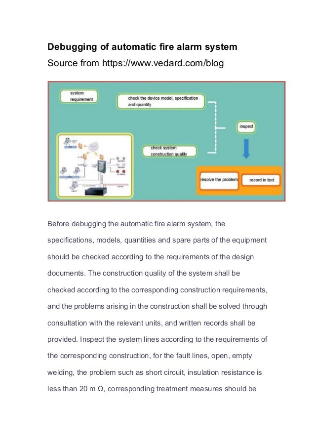 Debugging of automatic fire alarm system Source from https://www.vedard.com/blog Before debugging the automatic fire alarm...