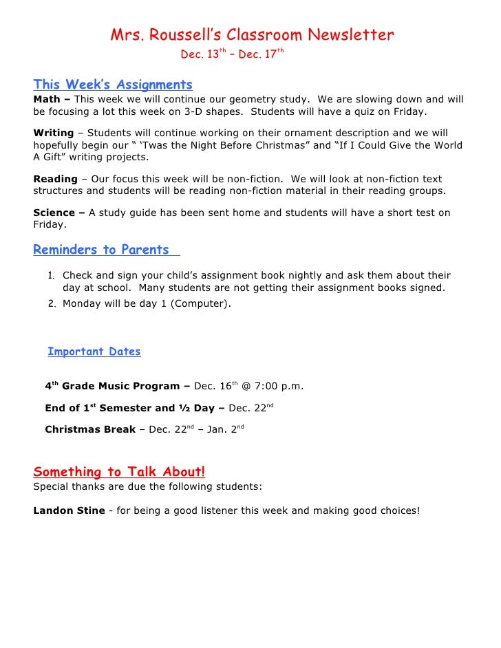 Mrs. Roussell's Classroom Newsletter                              Dec. 13th – Dec. 17thThis Week's AssignmentsMath – This ...