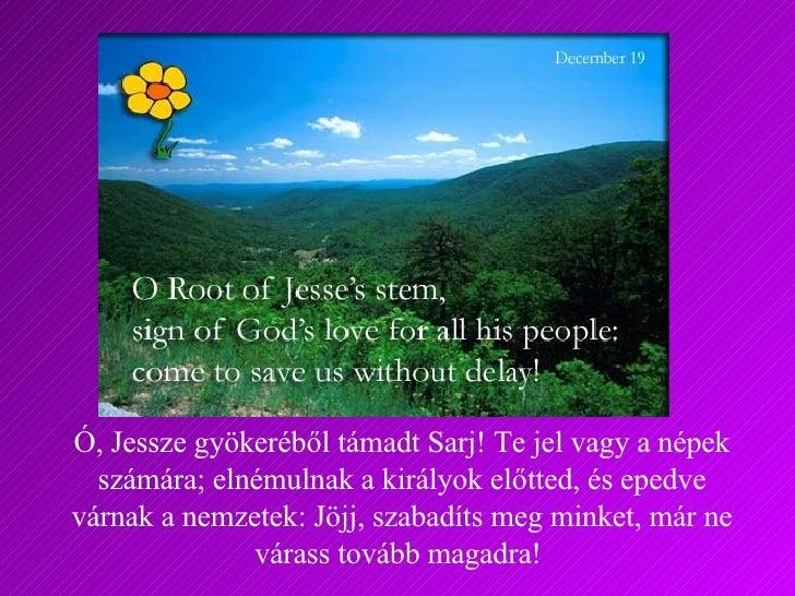 Ó, Jessze gyökeréből támadt Sarj! Te jel vagy a népek számára; elnémulnak a királyok előtted, és epedve várnak a nemzetek:...