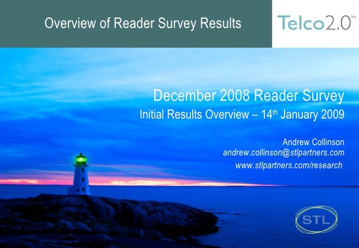 Overview of Reader Survey Results December 2008 Reader Survey Initial Results Overview – 14 th  January 2009 Andrew Collin...