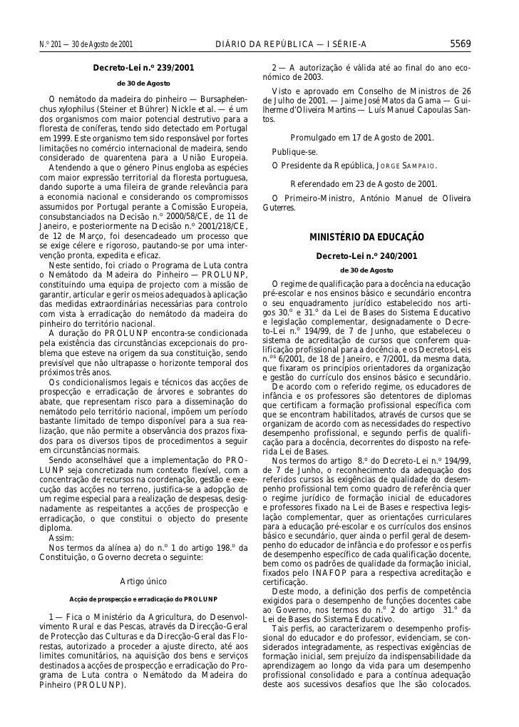 N.o 201 — 30 de Agosto de 2001                      DIÁRIO DA REPÚBLICA — I SÉRIE-A                              5569     ...