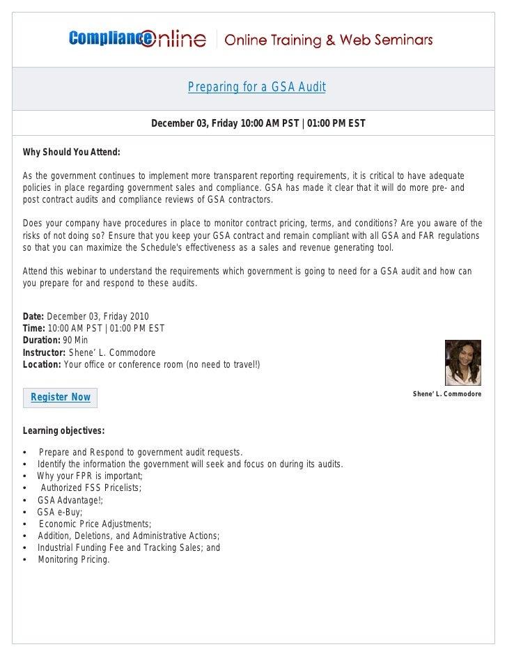 Preparing for a GSA Audit                                   December 03, Friday 10:00 AM PST | 01:00 PM ESTWhy Should You ...