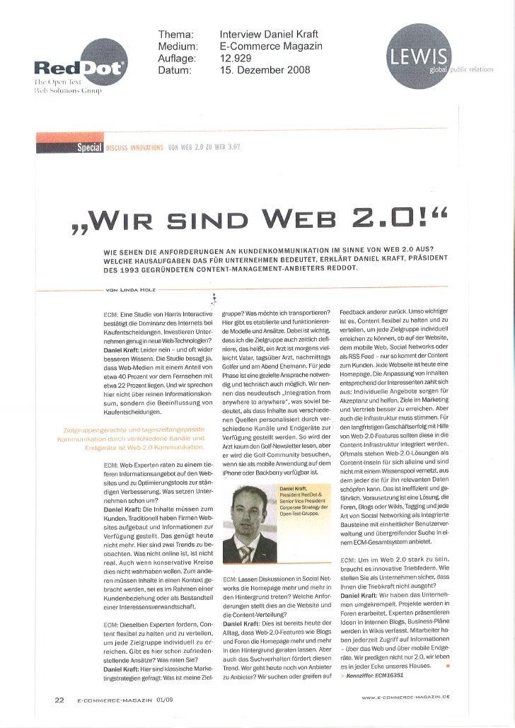 Dec 08 - Web 2.0 To Web 2.0 (E Commerce Magazin)