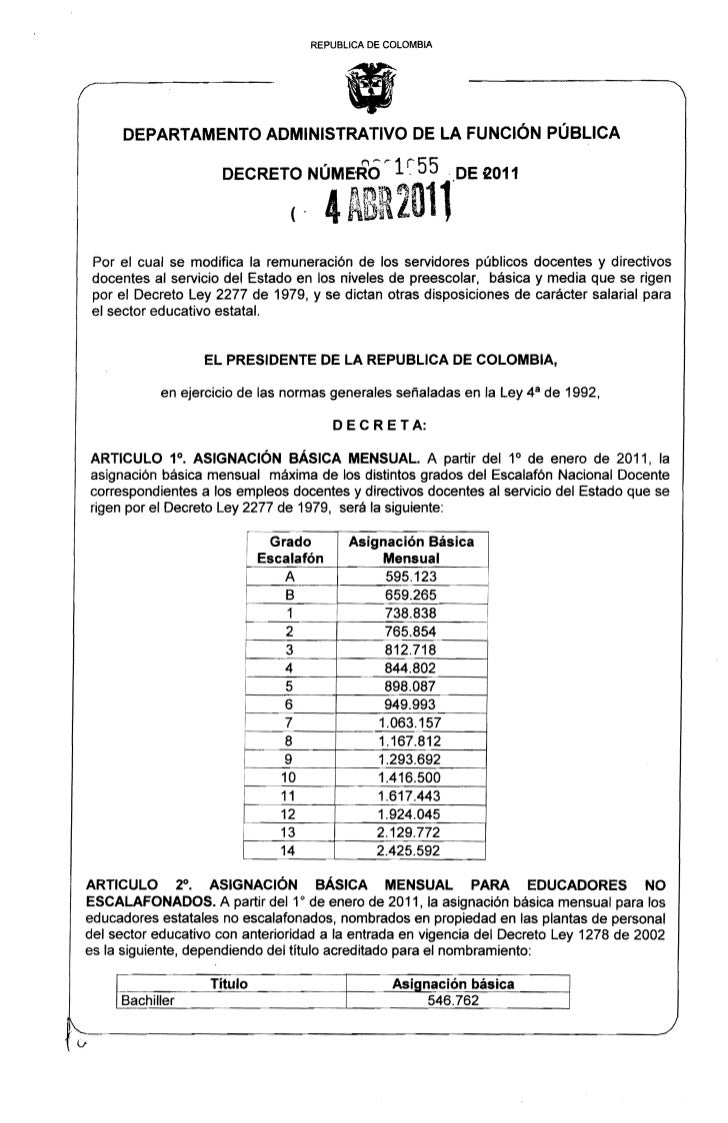 """REPUBLlCA DE COLOMBIA     DEPARTAMENTO ADMINISTRATIVO DE LA FUNCiÓN PÚBLICA                      DECRETO NÚMERO ,"""" 1~ 55  ..."""
