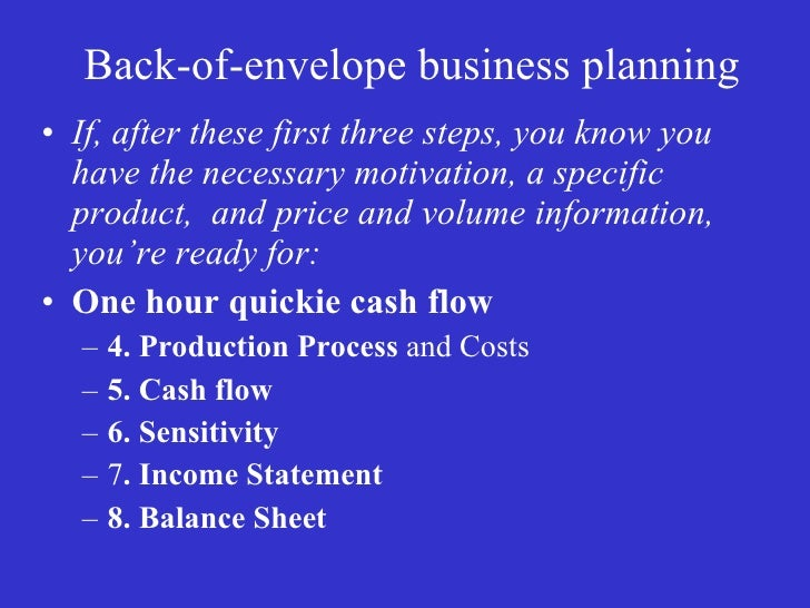 Back of the envelope business plan