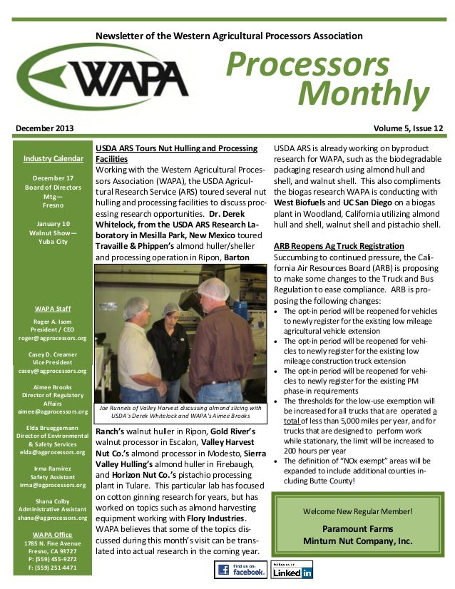 Newsletter of the Western Agricultural Processors Association  Processors Monthly December 2013 Industry Calendar December...