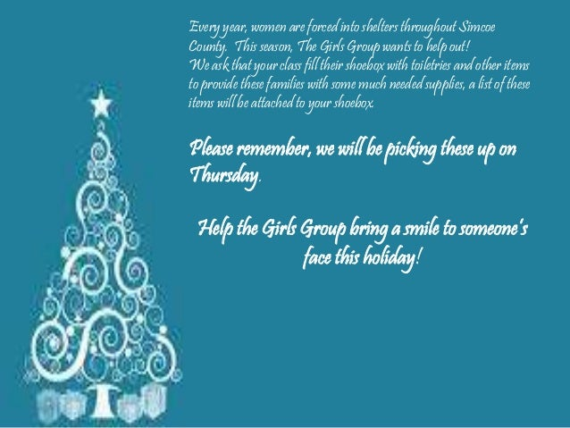 Every year, women are forced into shelters throughout Simcoe County. This season, The Girls Group wants to help out! We as...