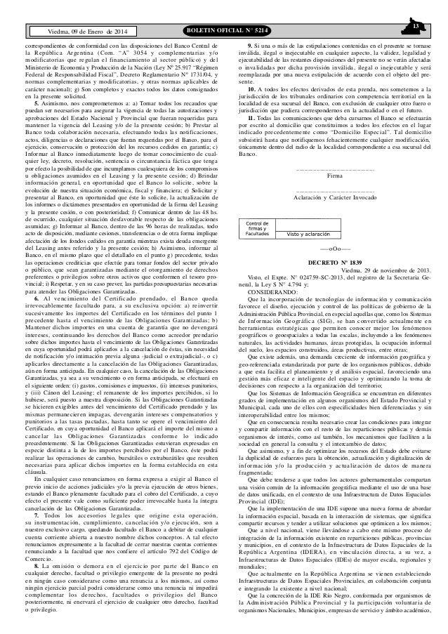 Viedma, 09 de Enero de 2014  13  BOLETIN OFICIAL N° 5214  correspondientes de conformidad con las disposiciones del Banco ...