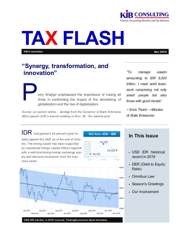 "TAX FLASH ""To manage assets amounting to IDR 8,200 trillion, I need solid team- work comprising not only smart people but ..."