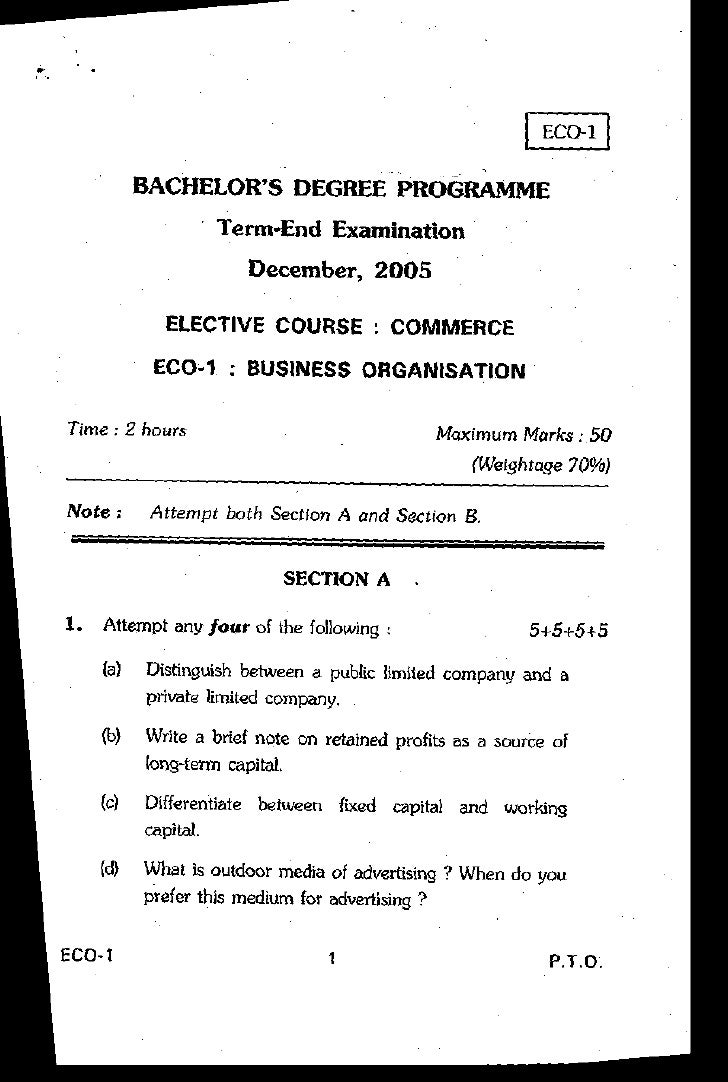 BACHELOR'S DEGREE PROGRAMME                    Term-End Examination                       December.2OO5               ELEC...