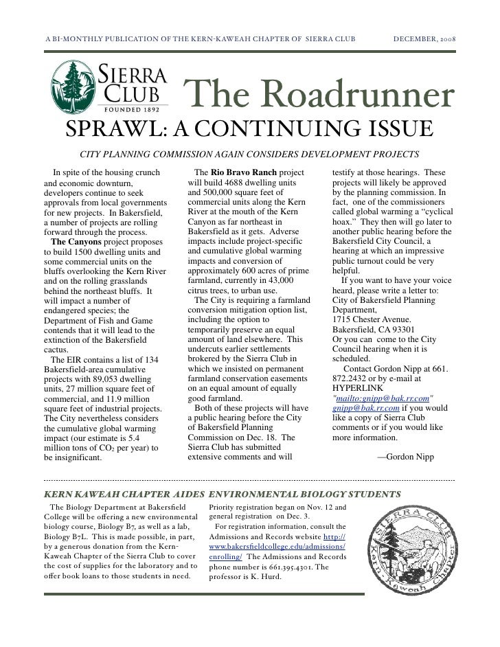 A BI-MONTHLY PUBLICATION OF THE KERN-KAWEAH CHAPTER OF SIERRA CLUB	                                  DECEMBER, 2008       ...