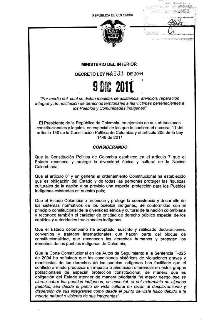 REPÚBLICA DE COLOMBIA                         MINISTERIO DEL INTERIOR                      DECRETO LEY NG1. 633 DE 2011   ...