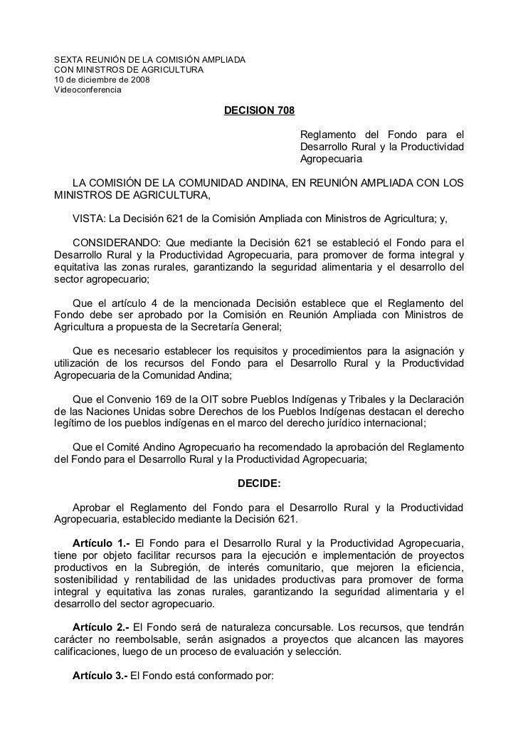 SEXTA REUNIÓN DE LA COMISIÓN AMPLIADACON MINISTROS DE AGRICULTURA10 de diciembre de 2008Videoconferencia                  ...