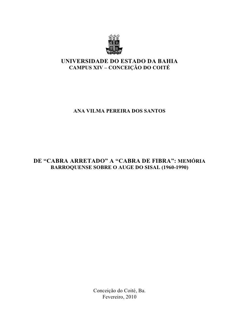 0       UNIVERSIDADE DO ESTADO DA BAHIA          CAMPUS XIV – CONCEIÇÃO DO COITÉ           ANA VILMA PEREIRA DOS SANTOSDE ...