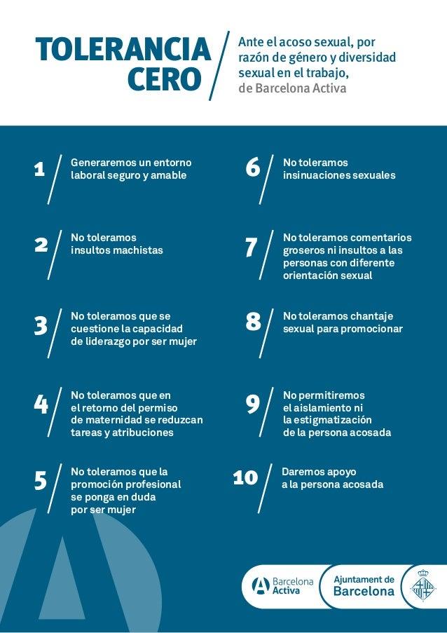 TOLERANCIA CERO Ante el acoso sexual, por raz�n de g�nero y diversidad sexual en el trabajo, de Barcelona Activa 1 Generar...
