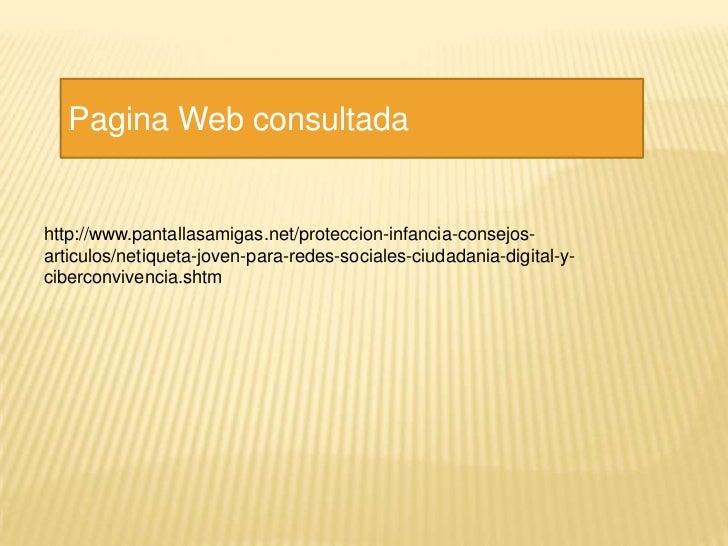 Pagina Web consultadahttp://www.pantallasamigas.net/proteccion-infancia-consejos-articulos/netiqueta-joven-para-redes-soci...