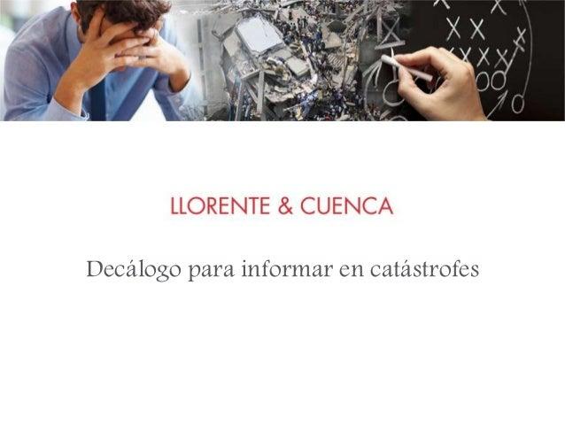 Decálogo para informar en catástrofes