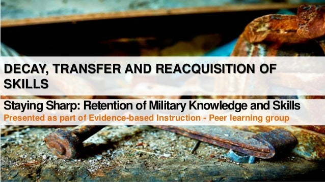 DECAY, TRANSFER AND REACQUISITION OF SKILLS Staying Sharp: Retention of Military Knowledge and Skills Presented as part of...