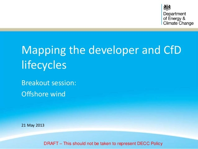 Mapping the developer and CfDlifecyclesBreakout session:Offshore wind21 May 2013DRAFT – This should not be taken to repres...