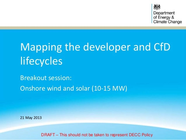 Mapping the developer and CfDlifecyclesBreakout session:Onshore wind and solar (10-15 MW)21 May 2013DRAFT – This should no...