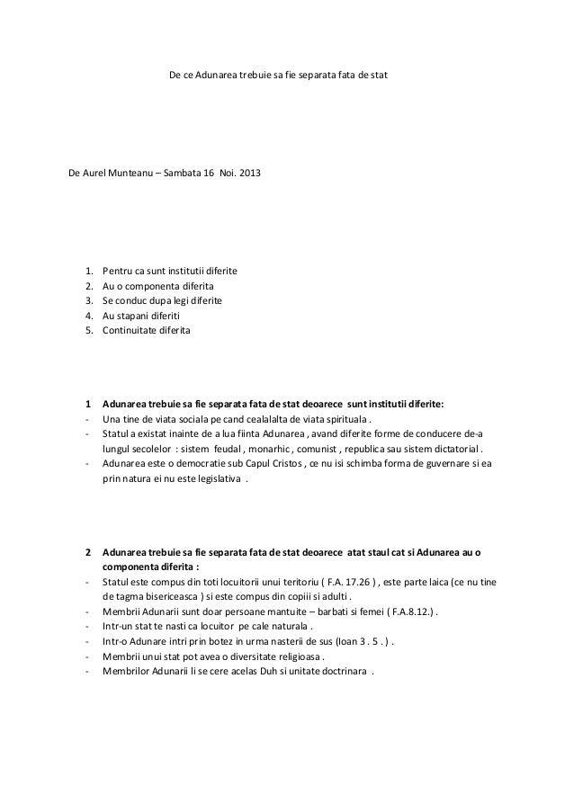 De ce Adunarea trebuie sa fie separata fata de stat  De Aurel Munteanu – Sambata 16 Noi. 2013  1. 2. 3. 4. 5.  Pentru ca s...