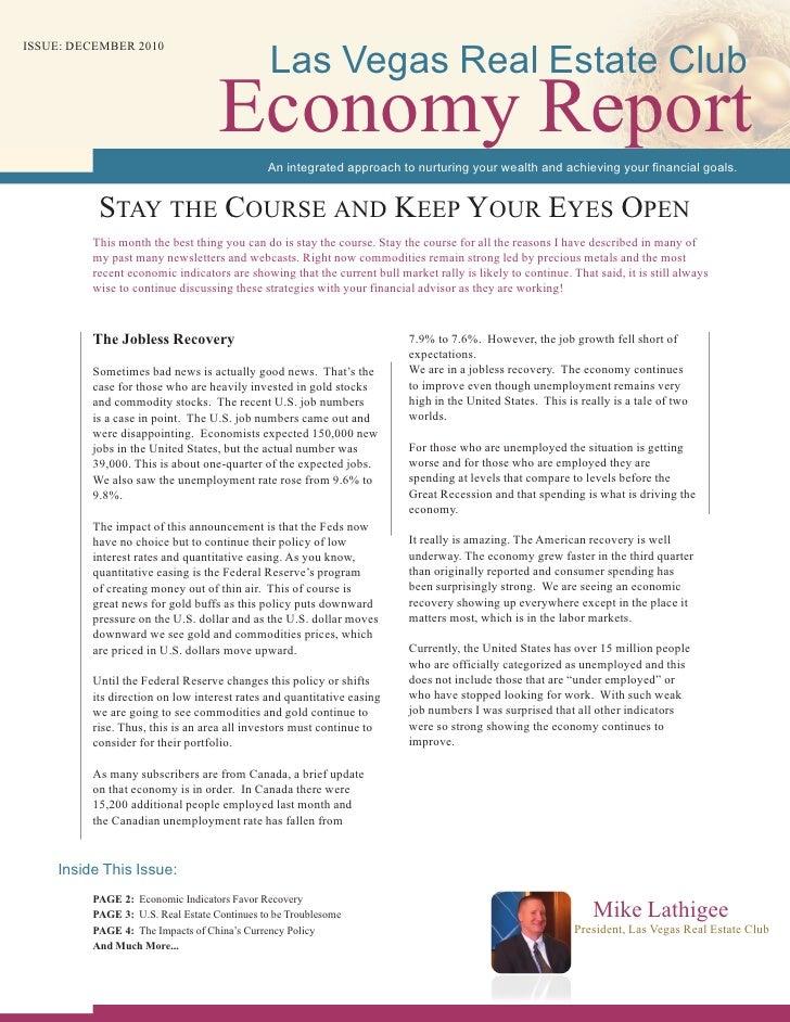 Las Vegas Real Estate ClubISSUE: DECEMBER 2010                                   Economy Report                           ...
