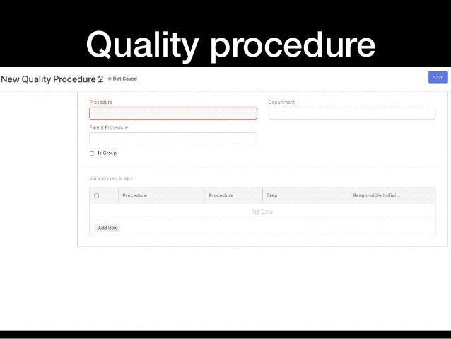Quality procedure
