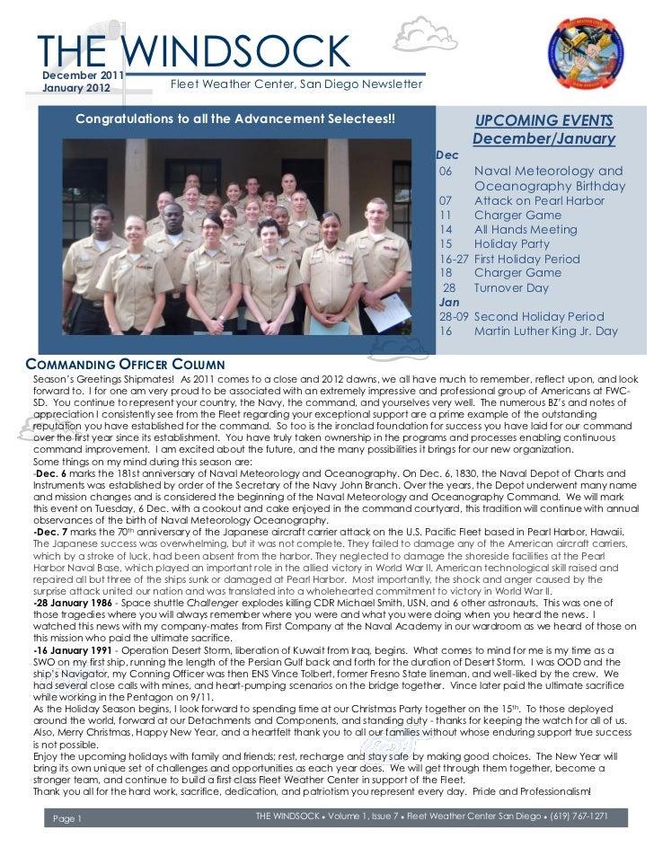 THE WINDSOCK  December 2011  January 2012               Fleet Weather Center, San Diego Newsletter         Congratulations...
