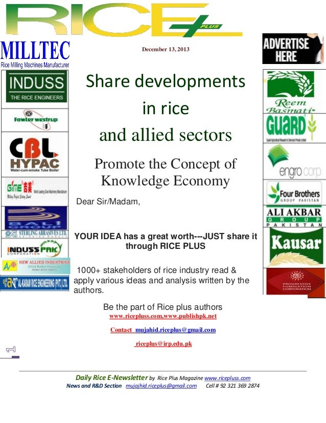 December 13, 2013  Share developments in rice and allied sectors Promote the Concept of Knowledge Economy Dear Sir/Madam, ...
