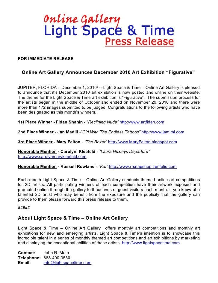 "FOR IMMEDIATE RELEASE  Online Art Gallery Announces December 2010 Art Exhibition ""Figurative""JUPITER, FLORIDA – December 1..."