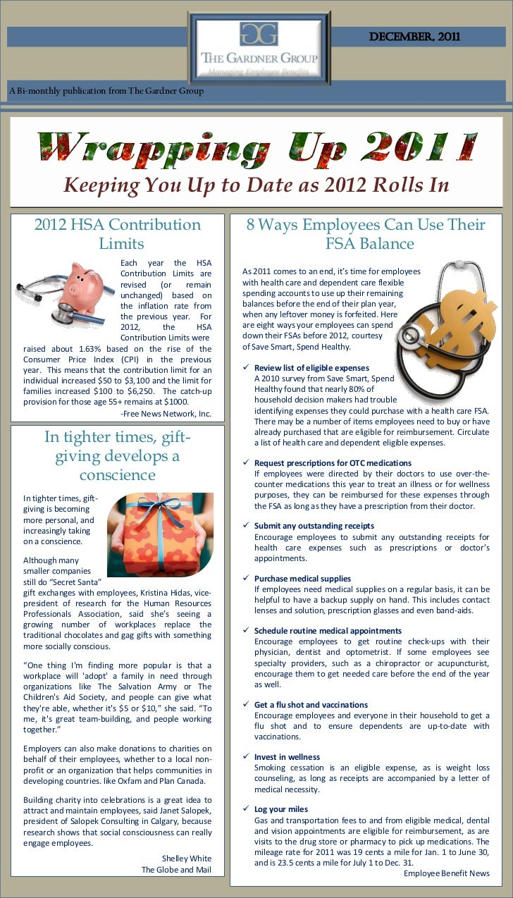 December, 2011A Bi-monthly publication from The Gardner Group               Keeping You Up to Date as 2012 Rolls In      2...