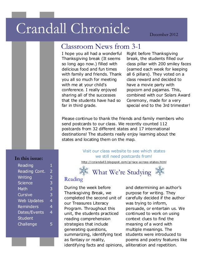 Crandall Chronicle                                                         December 2012                     Classroom New...